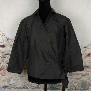 Oscar De La Renta 12 Brown Silk Beaded Wrap Blouse